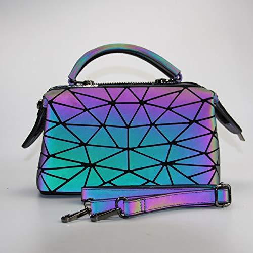 High Fashion Tote Handtasche (WNLZL Frauen Geometric Leuchtstoffleinung High Kapazität Handtaschen Holographische Geldbeutel Reflective Leder Irredescent Fashion Double Shoulder Strap Shoulder Tote)