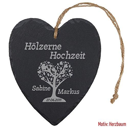 """Schieferherz """"Hölzerne Hochzeit - Baum"""" - individuelles Herz aus Schiefer mit Namen gravieren - Geschenk für Ehepaare zu 5. Ehejubiläum"""