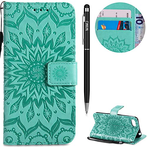 WIWJ Huawei Y5 2018 Hülle,Huawei Y5 2018 Leder Handyhülle, Wallet Case[Impressum Sonnenblume Ledertasche] Schutzhüllen für Huawei Y5 2018-Grün