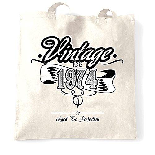 Compleanno Sacchetto Di Tote Vintage Est 1974 Anno di nascita Vecchio tradizionale unico White