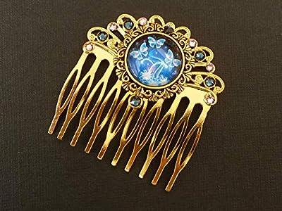 Peigne à cheveux avec motif papillon en or bleu