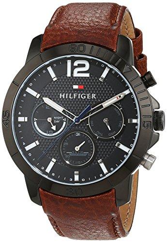 Tommy Hilfiger Herren Analog Quarz Uhr mit Leder Armband 1791269 (Uhr Mit Lederarmband)