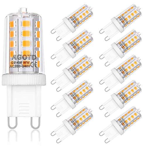 AGOTD 4W G9 LED Lampe, 2700k warmweiß Kein Flackern LED Leuchtmittel, 400 Lumen, Nicht Dimmbar 360 Grad Winkel, Ersatz 40W G9 Halogenlampe, 10er Pack (Lampe Ersatz-leuchtmittel)