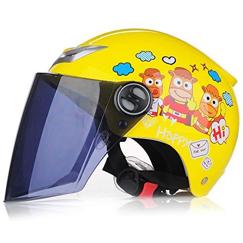 QMHG Kinderhelm,Verwendet im Kopf-Vollgesichts-Fallschutz-Kollisions-Sonnenschutz für Frauen-Männer-Jugend-Jungen-Mädchen Kinder Helm Gelb,B