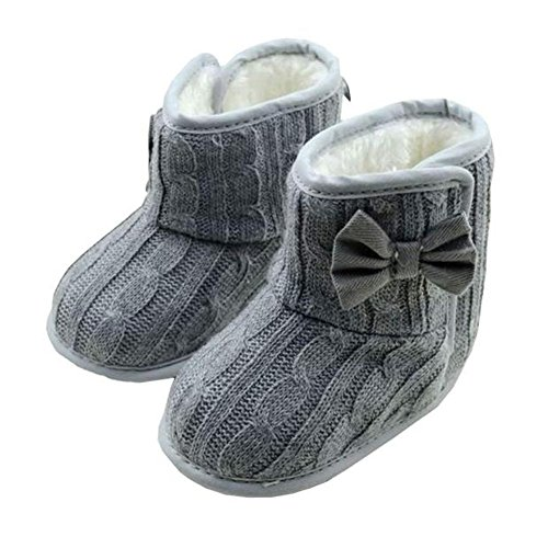 FEITONG Unisex Baby weiche Sohle Bowknot Winter warme Schuhe Stiefel (0- 6 Monate, Rosa) Grau