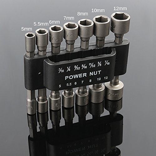 HOEN 1/10,2cm 3/169/81,3cm Hex Power Nut Driver Bit-Set Bit Adapter Metrisches Socket stark Sleeve für Schlüssel Schraube -14pcs