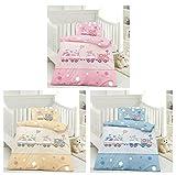 Kinder Bettwäsche, Babybettwäsche 100x135 cm + 40x60 cm 100% Baumwolle Bärchen mit Zug Blau