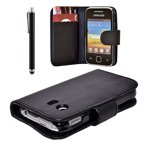 Lederklappetui für Samsung Galaxy Y GT-S 5360 Mini-Sim (mit Displayschutz und Eingabestift) schwarz