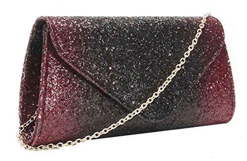 Kukubird Premium Ambra Glitter Materiale Frizione Con Cinturino In Metallo Versatile Portafoglio Portamonete Donna Clutch Burgundy/ Black