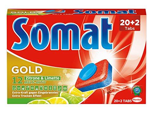 Somat 12 Gold Zitrone & Limette M 20+2 Tabs 440g Paket, 4er Pack (4 x 440 g)