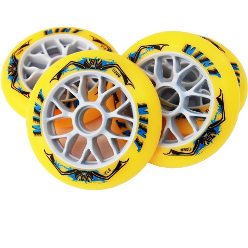 Mint 8 St Inline Skate Race Speed Rollen - 110mm - High Rebound, Size: Härte 87A
