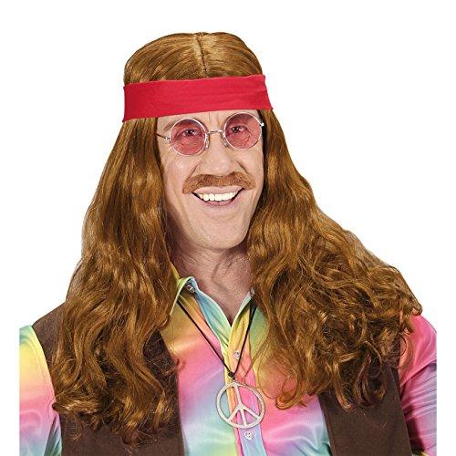 Hippie Perücke Braun Blumenkind Kostüm - Widmann - Perücke Hippie