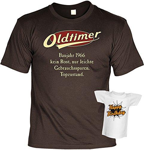 Geburtstags-Jahrgangs-Fun-Shirt-Set inkl. Mini-Shirt/Flaschendeko: Oldtimer Baujahr 1966 - geniales Geschenk Braun