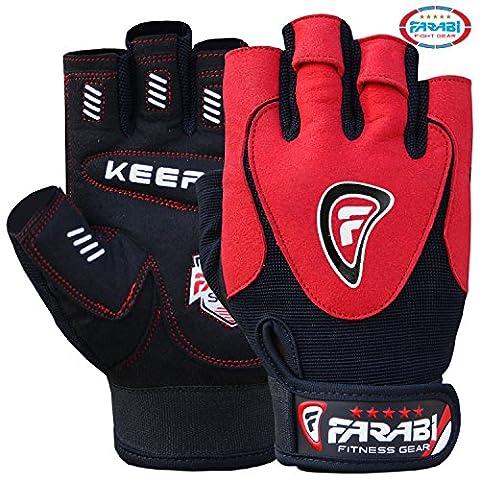Farabi Gel padded weightlifting strength training bodybuilding gym fitness workout bar weight lifting home gym weighted gloves with weight lifting grip and straps. (Medium)