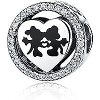Disney, Mickey & Minnie Love, Abalorio de plata de ley 925 con encanto transparente, compatible con pulseras Pandora y otras pulseras de abalorios europeas