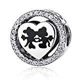 Disney, Mickey & Minnie Love, fascino CZ in argento Sterling 925 ciondoli Pandora e altri braccialetti europei
