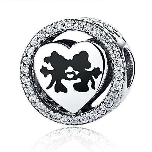 Disney, Mickey & Minnie Love, fascino CZ in argento Sterling 925ciondoli Pandora e altri braccialetti europei