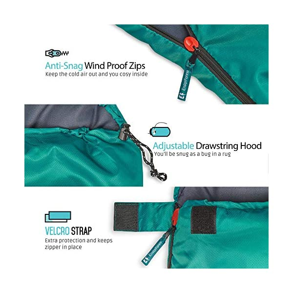 Endor Forest Sleeping Bag for Adults and Kids - Made With Ripstop Polyester, Single Envelope 3 Season Sleeping Bag for Camping - Lightweight, Compact and Water Resistant for a Comfortable Warm Sleep 3