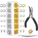 Anezus - Anillos para hacer joyas y reparación de collares con alicates de anillo y anillo de salto abierto (1200 piezas), color plateado y dorado