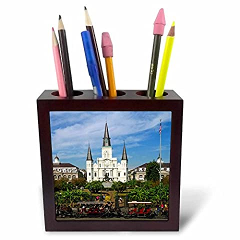 3dRose ph_90466_1 St. Louis Cathedral, New Orleans, Louisiana - US19 DFR0091 - David R. Frazier - Tile Pen Holder, 5-Inch