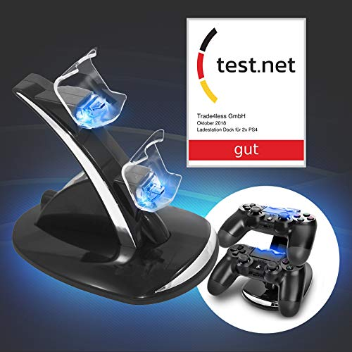Eaxus®️ Ladestation Dock für 2 x PlayStation 4 Controller mit Ladestatusanzeige durch LED Beleuchtung. Docking Station zum Aufladen Ihrer PS4 Gamepads