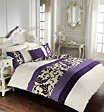 Luxury Duvet Cover Double With Pillowcases Quilt Bedding Set Reversible Poly Cotton , Scroll Purple