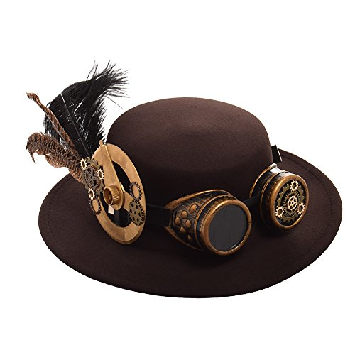 BLESSUME Jahrgang Steampunk Hut Gefieder Gang Brille Gotisch Hut Viktorianisch Cosplay Hut (K)