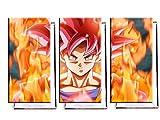 Dragon Ball Super Goku - Dreiteiler (120x80 cm) - Bilder & Kunstdrucke fertig auf Leinwand aufgespannt und in erstklassiger Druckqualität