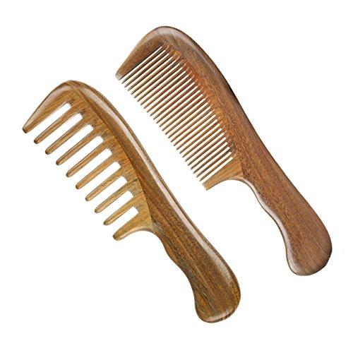 LWBTOSEE Peine de madera de dientes anchos y finos