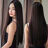 INFInxt Synthetic Long Shiny Straight Hair Extension Wig (Black) for Women 23 inch