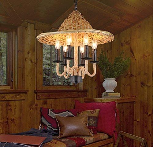 arn retro jungbong Kronleuchter Kukeng willkommen Manor House Restaurant Dorf chinesische Bambus hüte Hängeleuchter, Einstellbar 52 * 50 * Die Hubkette Länge 100cm ()