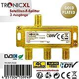 TronicXL 3fach 24k Gold F-Stecker Antennenverteiler DC-Durchlass TV Kabelfernsehen DVB-C BK DVB-T2 zb für Unitymedia Kabel Deutschland Vodafone Splitter Unicable Verteiler HD 3D 4K digital SAT weiche