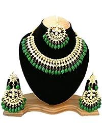 Finekraft Meena Kundan Gold Plated Wedding Designer Choker Necklace Jewelry Set