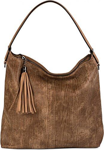 Extra Large Satchel (styleBREAKER Hobo Bag Handtasche im Vintage used Look, Quaste, Henkeltasche, Shopper, Tasche, Damen 02012149, Farbe:Camel)