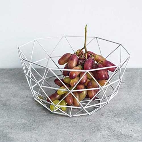 IMBM Obstschale Kreativ luxus Dekoschalen, Nordischen Stil Metall Hohle Obst Schalen, Eisen Obstkorb,Tischdeko, Geschenk für Weihnachten (Color : White)