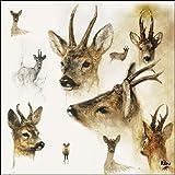 Ambiente Papierservietten - Servietten Lunch / Party / ca. 33x33cm Portraits Of Deer - Porträts von Hirschen - Hirsch - Rien Poortvliet Collection - Ideal Als Geschenk Und Tisch-Deko