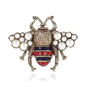 AILUOR Unisex Mode Emaille Hummel Bee Broschen, Weinlese-Legierung Perlen-Kristall Strass Natürliches Insekt Biene Tier-Revers-Stifte Schmuck