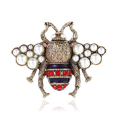 AILUOR Unisex Mode Emaille Hummel Bee Broschen, Weinlese-Legierung Perlen-Kristall Strass Natürliches Insekt Biene Tier-Revers-Stifte Schmuck Mehrfarbig Einstellbar - Revers-stifte