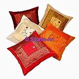 Set di federe in seta con ricamo decorativo etnico indiano fatto a mano, 5pz.