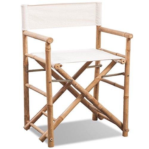 Festnight Klappbarer Regiestuhl Klappstuhl aus Bambus und Canvas Gartenstuhl Stuhl 58 x 48 x 89 cm