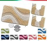 Tappeti bagno shaggy PARURE SET 3 PEZZI moderni morbidissimi retro antiscivolo mod.EVIA PARURE PORPORA (P)