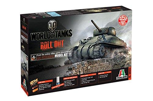 Italeri 510036503 - 1:35 US M4 Sherman Panzer World of Tanks (Model Paint Kit Militär)