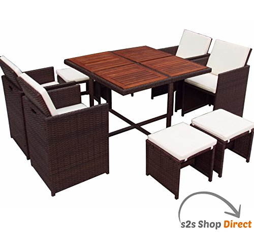 9 PC Rattan Cube Set Wood Top Garden Home Furniture Dining Table Chairs 8 Se
