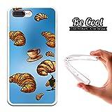 Becool® - Flexible Gel Schutzhülle für iPhone 7 Plus, TPU Hülle aus bestem Silikon gefertigt, die dank unserem exklusivem Design sich einwandfrei an Ihr Smartphone anpasst und optimalen Schutz gewährleistet. Croissant und Kaffee.