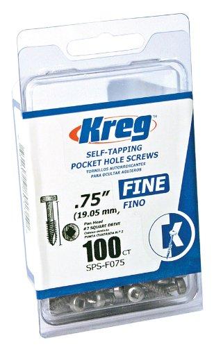 Kreg SPS-F075-100 0.75-Inch No.6 Fine Thread Pan Head Pocket Screws, 100-Count by Kreg (Thread Pocket Screw)