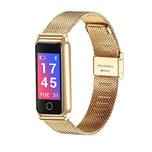 Elospy Metall Smart Watch IP67 Wasserdichter Fitness Tracker Uhr Aktivitäts Tracker Fitness Armband mit Pulsmesser Blutdruckmessgerät Uhr Schrittzähler Schlaf-Monitor für Damen Herren, IOS/Android