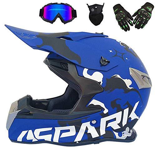 GWJ Adult Off Road Helmet Motocross Motorcycle Dirt Bike ATV D.O.T zertifiziertes Ausdauerrennen Extreme Sport Helmet/Multicolor Goggles/Mask/Racing Handschuhe (6 im Stil),Blue,M (Bike Dirt Vi)