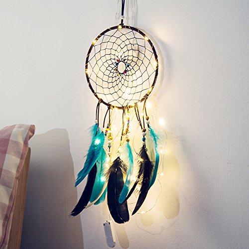 Ndier Catcher Ensueño Atrapasueños, Dream Catcher con Luces y esferas Plumas DIY Decoración de Colgar para salón, Dormitorio de Cama, Oficina, etc.