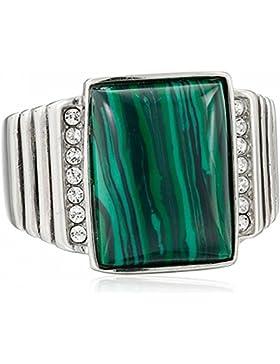 ISADY - Oberon - Herren-Ring - Edelstahl - Zirkonium transparent und Synth. Smaragd Grün