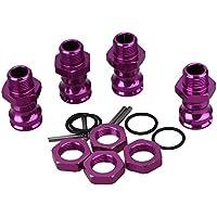 WEONE Actualiza púrpura 17mm 1/8 RC modelo de coche piezas de repuesto 89108 del metal de la rueda hexagonal Enhanced adaptador de montaje (paquete de 4)